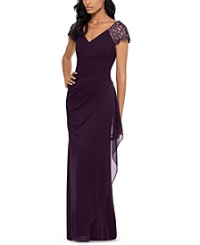 Lace-Sleeve Chiffon Gown