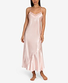 Lace-Trim Charmeuse Long Nightgown