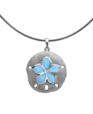 """Larimar Sand Dollar 21"""" Pendant Necklace in Sterling Silver"""