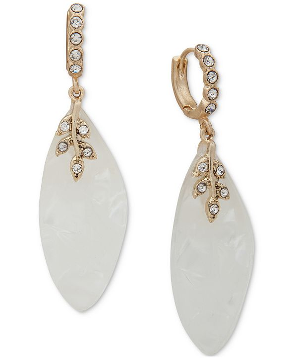 lonna & lilly Gold-Tone Pavé Mother-of-Pearl Charm Hoop Earrings