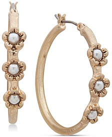 "Gold-Tone Medium Imitation Pearl Flower Hoop Earrings, 1.25"""