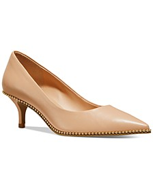 Women's Jackie Kitten-Heel Beadchain Pumps