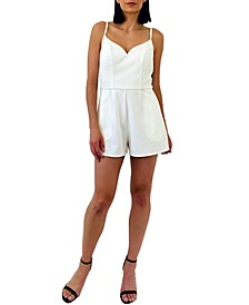 Juniors' Lace-Back Romper