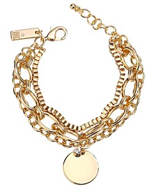 INC Gold-Tone Crystal & Disc Charm Multi-Chain Flex Bracelet, Created for Macy's