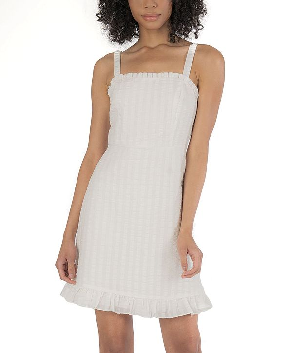 Speechless Juniors' Gingham Ruffle-Hem Fit & Flare Dress