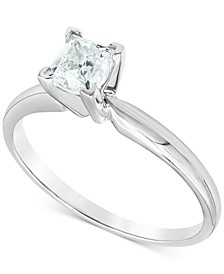 Diamond (3/4 ct. t.w.) Princess Solitaire Engagement Ring in 14k White Gold