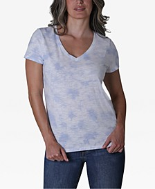 Juniors' V-Neck Tie-Dyed T-Shirt