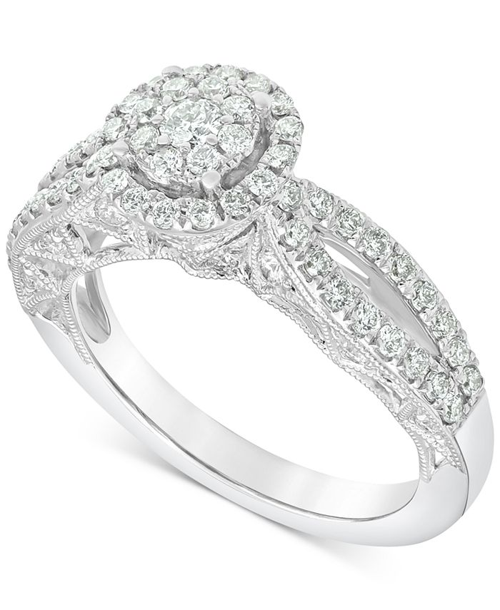 Macy's - Diamond (1 ct. t.w.) Halo Cluster Engagement Ring in 14k White Gold