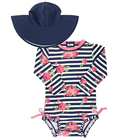 Baby Girls Floral Stripe One Piece Swimsuit and Swim Hat Set