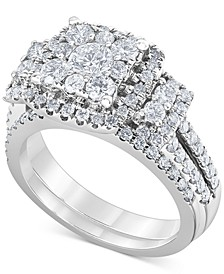 Diamond (1-1/2 ct. t.w.) Square Halo Bridal Set in 14K White Gold