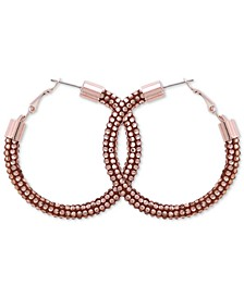 Silver-Tone Large Sequin Hoop Earrings, 2-3/8""