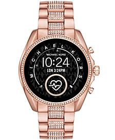 Michael Kors Access Gen 5 Bradshaw Pavé Rose Gold-Tone Stainless Steel Bracelet Touchscreen Smart Watch 44mm