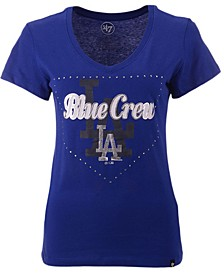 Women's Los Angeles Dodgers Home Slogan Ultra Rival V-Neck T-Shirt