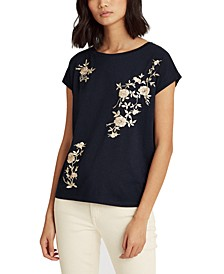 Embroidered Boatneck Top