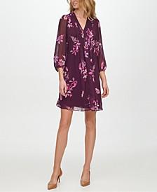 Floral-Print Pleat-Detail Shift Dress