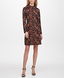 Smocked-Neck Paisley-Print Sheath Dress