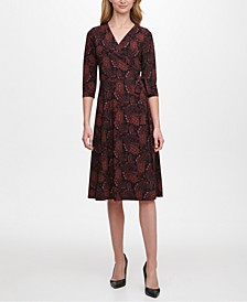 Paisley-Print Fit & Flare Dress