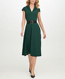 Belted Scuba-Crepe Fit & Flare Midi Dress