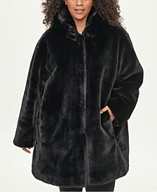 Plus Size Hooded Faux-Fur Coat