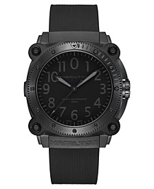 Men's Swiss Automatic Khaki Navy BeLOWZERO Black Rubber Strap Watch 46mm
