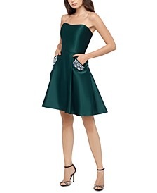 Juniors' Embellished-Pockets A-Line Dress