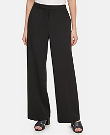 Ponté-Knit Wide-Leg Pants