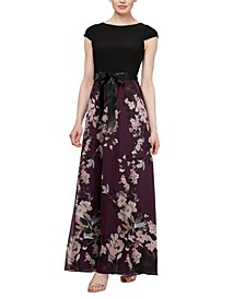 Cap-Sleeve Floral-Skirt Gown