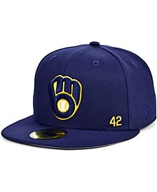 Men's Milwaukee Brewers Jackie Robinson 50th Patch 59FIFTY-FITTED Cap