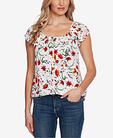 CeCe Floral-Print Square-Neck Top
