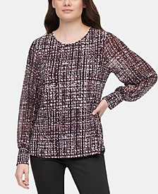 Printed Chiffon-Sleeve Top