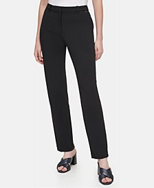 Ponté-Knit Slim-Leg Ankle Pants