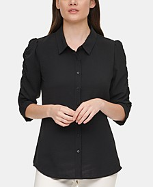 Ruched-Sleeve Shirt
