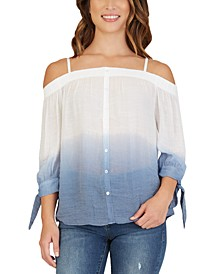 Juniors' Dip-Dyed Off-The-Shoulder Top