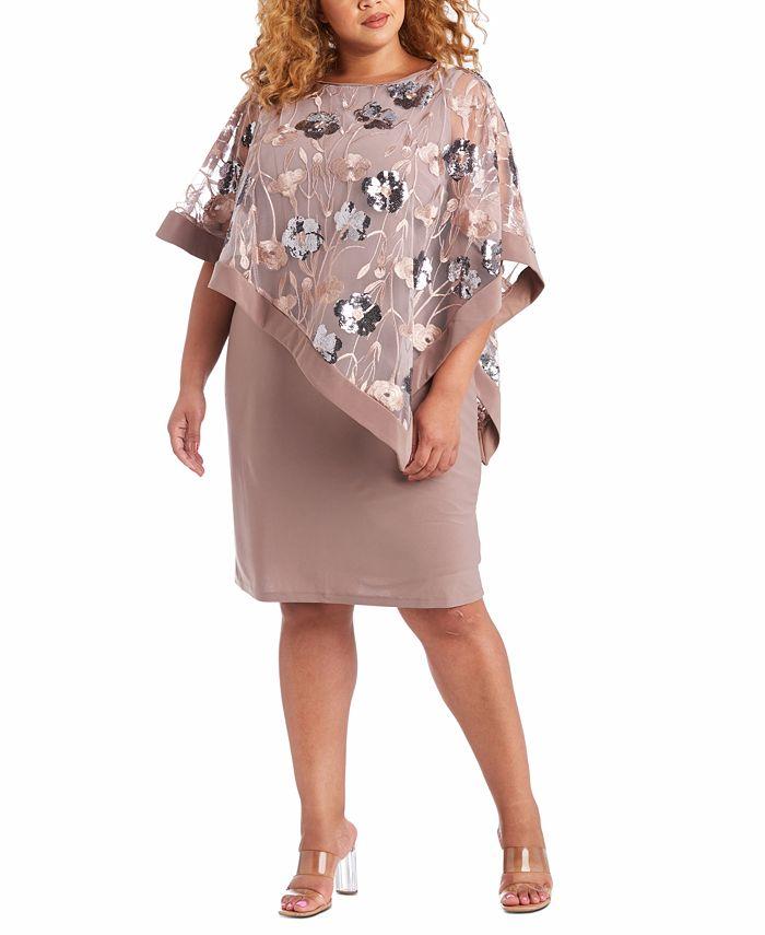 R & M Richards - Plus Size Embellished-Overlay Sheath Dress