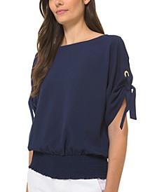 Grommet-Detail Kimono-Sleeve Blouse