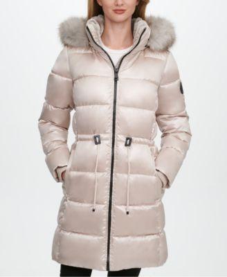 High-Shine Faux-Fur-Trim Hooded Puffer Coat, Created for Macy's