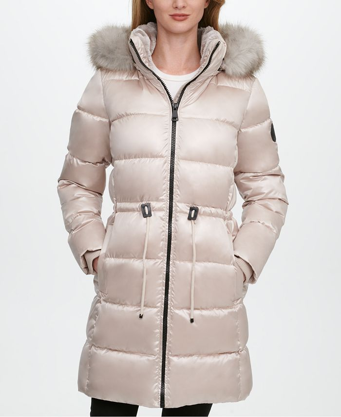 DKNY - High-Shine Faux-Fur-Trim Hooded Puffer Coat