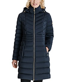 Petite Hooded Packable Stretch Puffer Coat, Created for Macy's