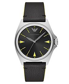 Men's Black Leather Strap Watch 40mm