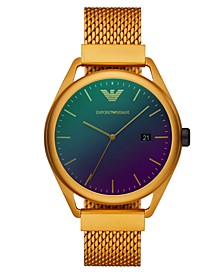 Men's Yellow Aluminum Mesh Bracelet Watch 43mm