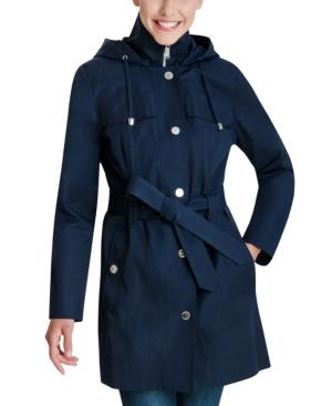 Hooded Bibbed Belted Water-Resistant Raincoat