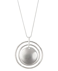 """Silver-Tone Orbital Pendant Necklace, 28"""" + 3"""" extender, Created for Macy's"""