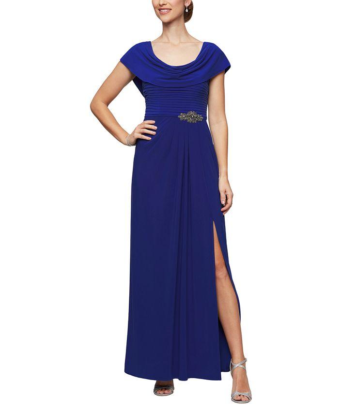 Alex Evenings - Embellished-Waist Cowlneck Gown