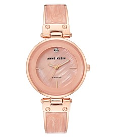 Women's Diamond-Accent Rose Gold-Tone & Pink Marble Acrylic Bangle Bracelet Watch 34mm