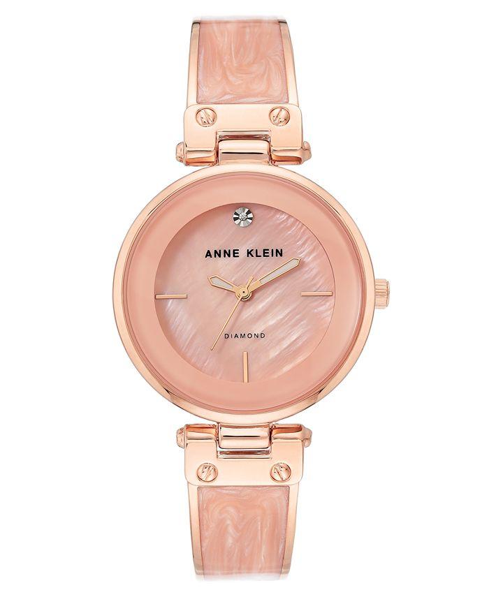 Anne Klein - Women's Diamond-Accent Rose Gold-Tone & Pink Marble Acrylic Bangle Bracelet Watch 34mm