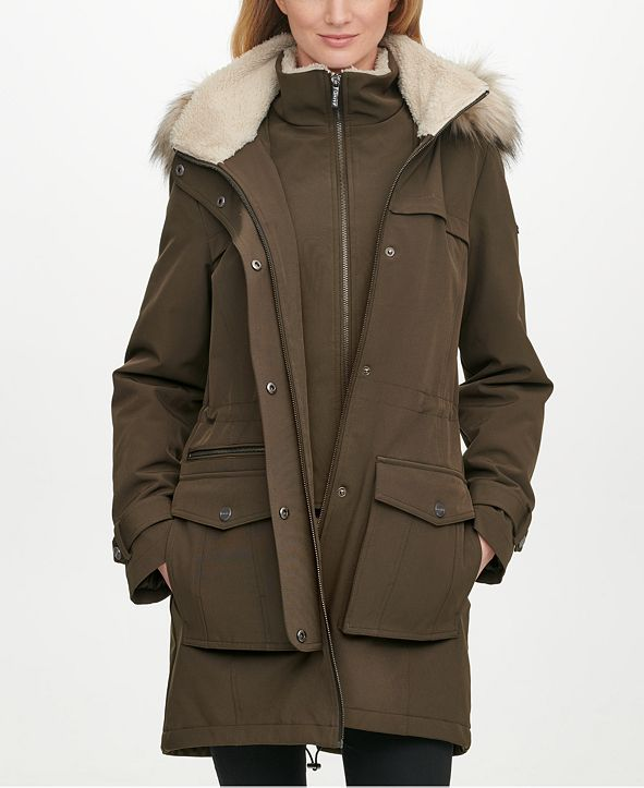 DKNY Faux-Fur-Lined Hooded Raincoat