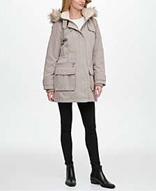 Faux-Fur Trim Hooded Water-Resistant Anorak Coat