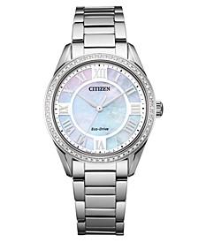 Eco-Drive Women's Arezzo Diamond Stainless Steel Bracelet Watch 32mm