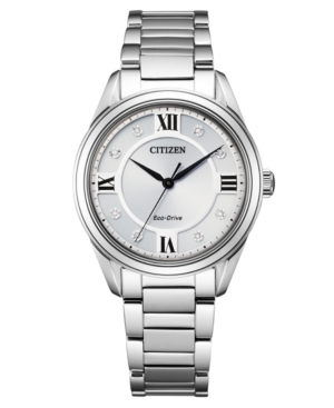 Eco-Drive Women's Arezzo Diamond-Accent Stainless Steel Bracelet Watch 32mm