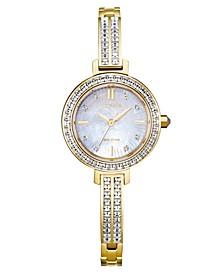 Eco-Drive Women's Gold-Tone Stainless Steel & Swarovski Crystal Bangle Bracelet Watch 25mm